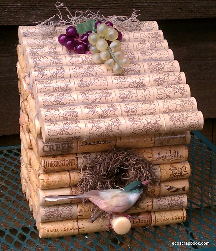 bird house plan made out of wine corks
